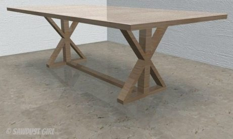 X-leg farmhouse table plans