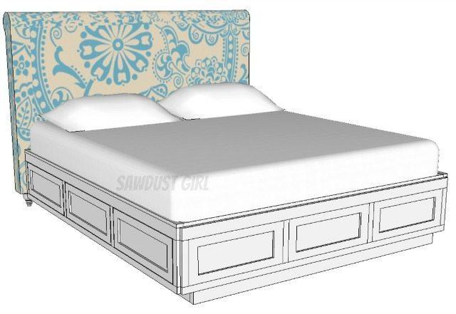 King storage bed plans