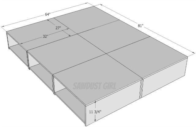 Queen size platform storage bed plans sawdust girl for Platform storage bed plans