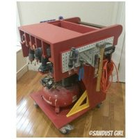 Rolling Tool Cart and Air Compressor Storage