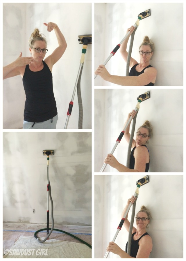 Sanding drywall after skim coating with a sander that attaches to shop vac.