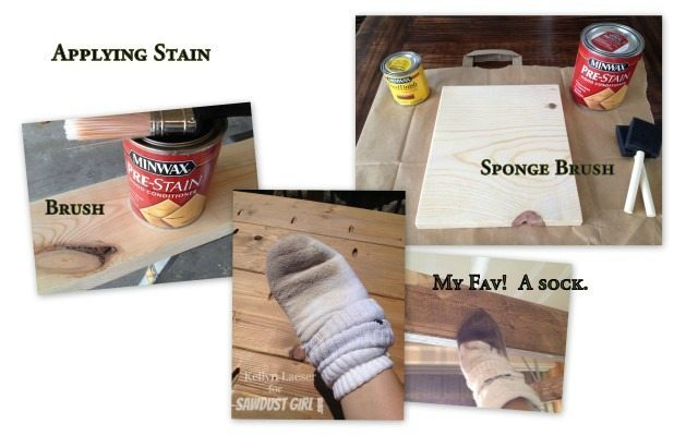 applying stain to wood