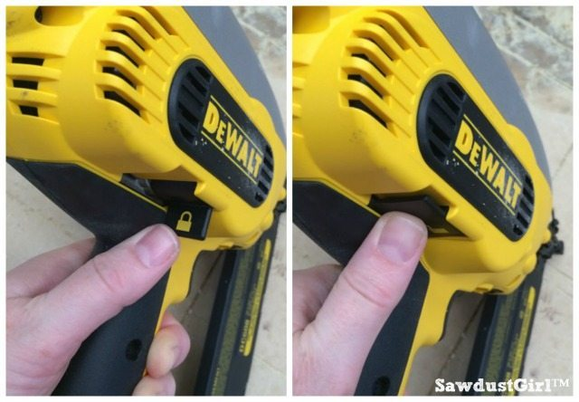 lock feature on DeWalt nailer