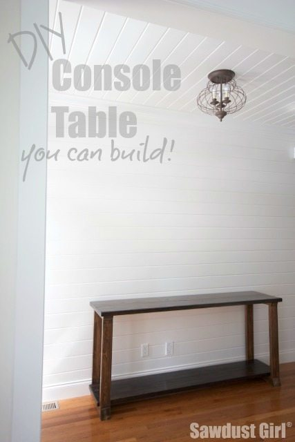 Two-toned wood console table - free plans and tutorial to build this cheap and easy wood table.