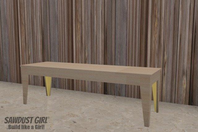 Super easy Tapered Leg Wood Bench plans from https://sawdustgirl.com.