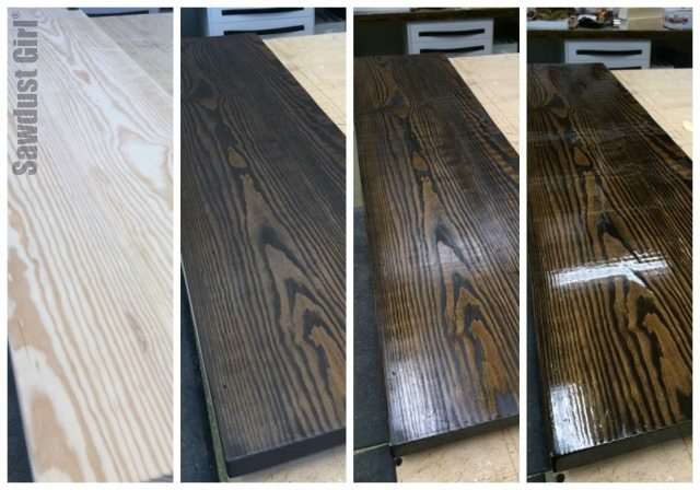 DIY wood console table stained and finished