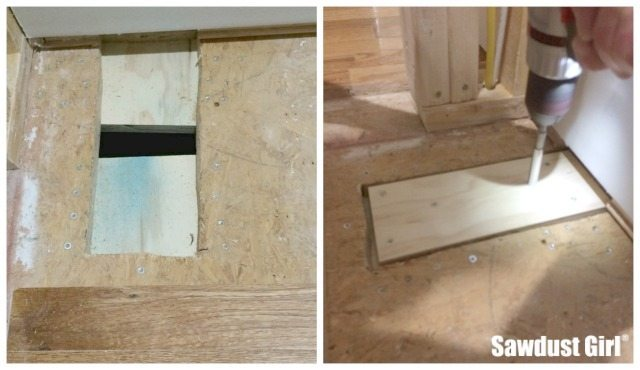 How to patch subfloor - Sawdust Girl®