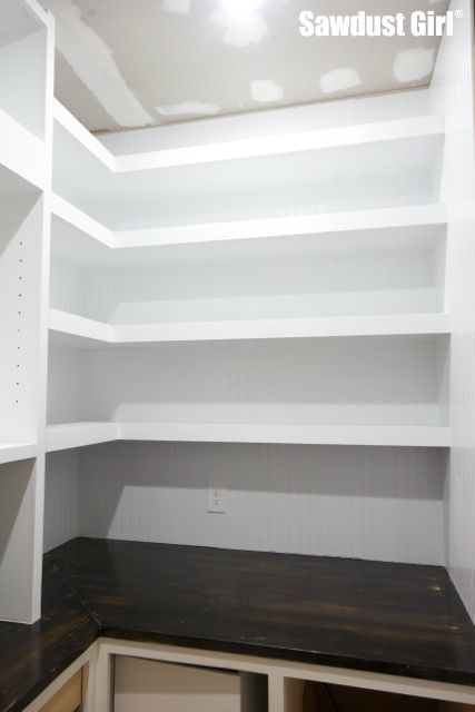 Corner Floating Shelves in Pantry