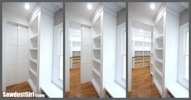 DIY sliding pocket doors for pantry.