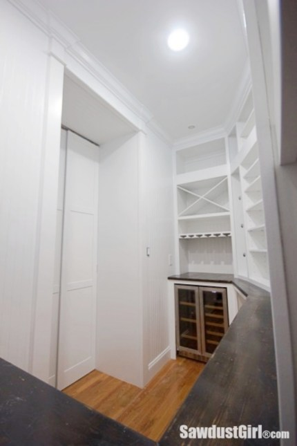Hidden entrance to walk in pantry