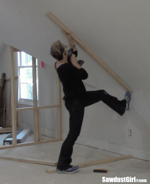 Framing a closet around wonky angled ceilings