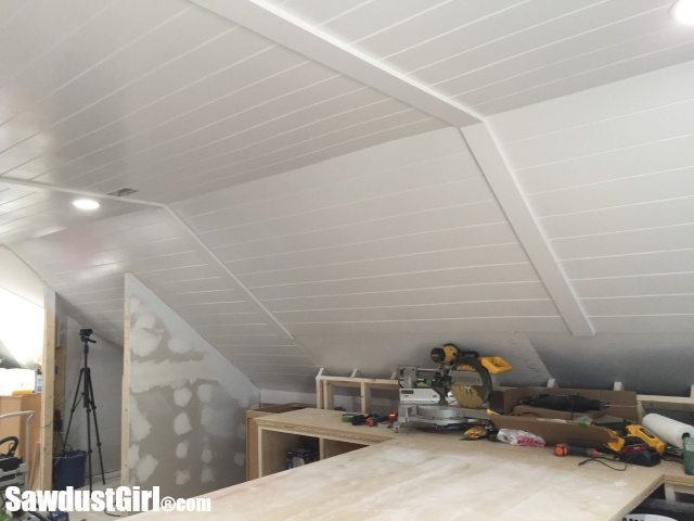 V Groove Plywood Plank Ceiling Finished