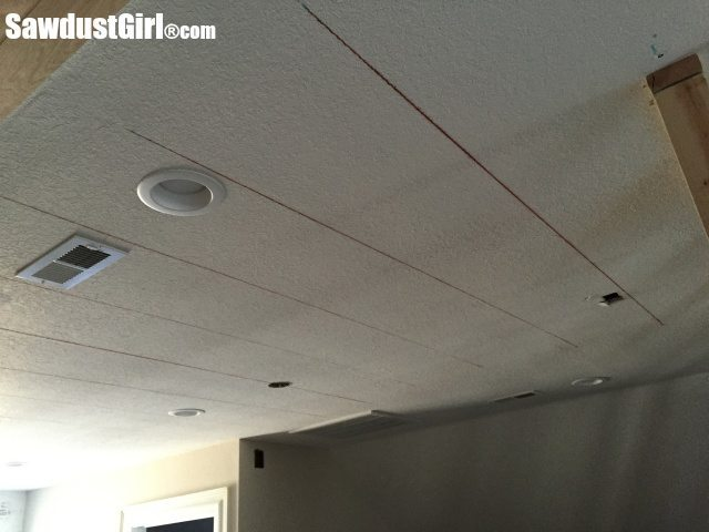 Installing a DIY Plywood V-Groove Plank Ceiling Chalk Lines After