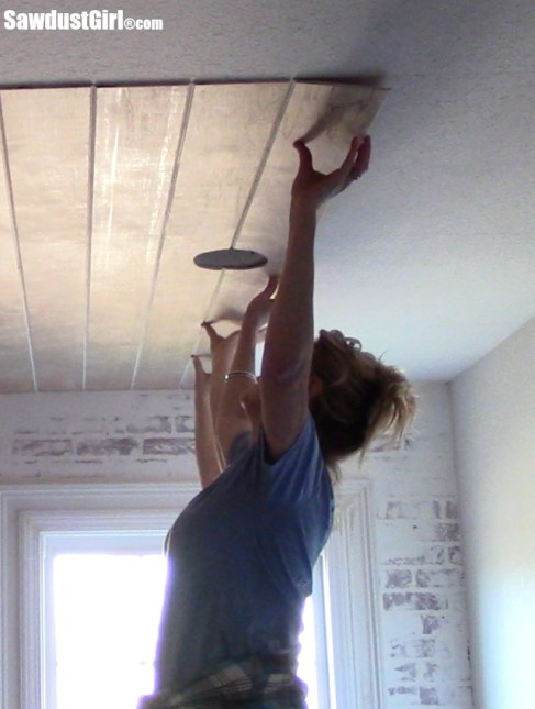 Installing a DIY Plywood V-Groove Plank Ceiling Laying Planks