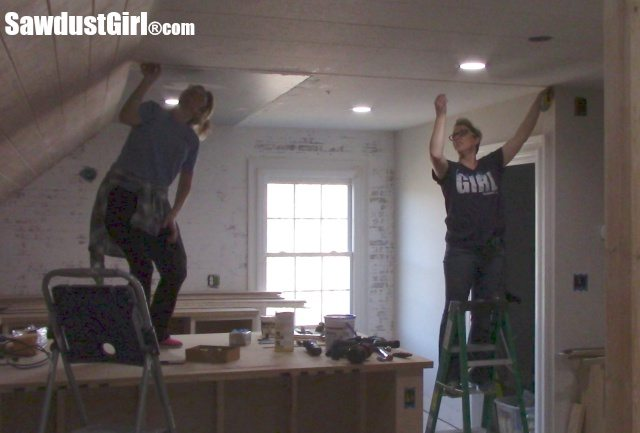 Installing a DIY Plywood V-Groove Plank Ceiling Chalk Line