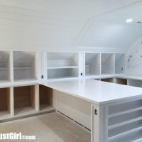 White Painted Craft Room Cabinets and Countertops