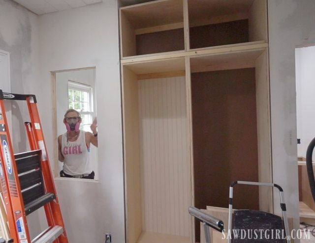 prepping wall for a cabinet between studs