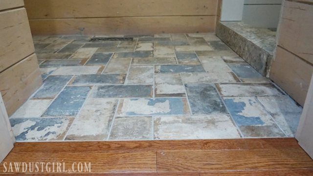 how to install tile flush with hardwood