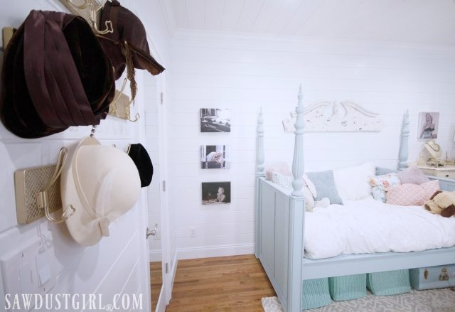 Madison's pretty bedroom re-do is complete!  Decorating this small bedroom was a challenge so we made the most of every inch of space by using beautiful and functional decor.