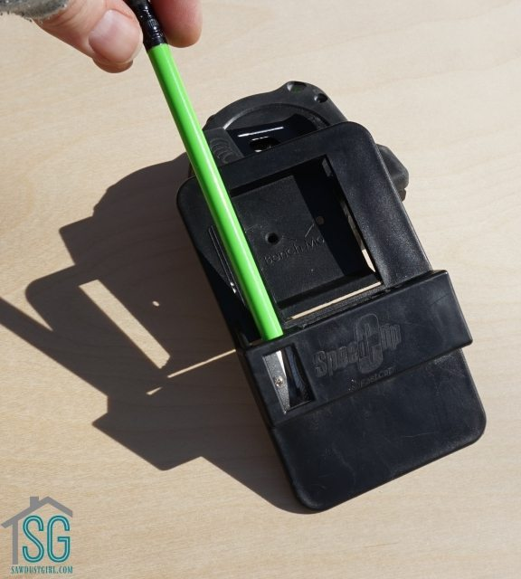 Tape Measure Holder with built-in pencil sharpener