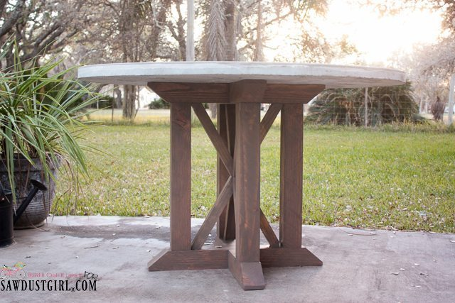 Round Concrete Table with X Base