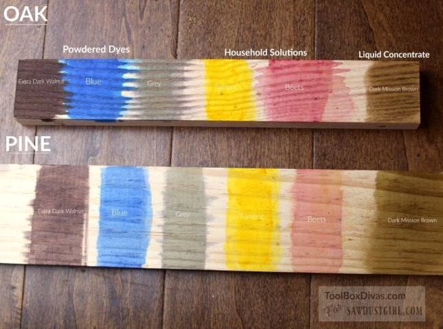 Exploring Wood finishings: Wood Dyes Toolbox Divas for Sawdust Girl 12