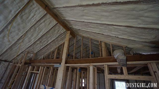 Spray foam insulation in Calderwood Cottage