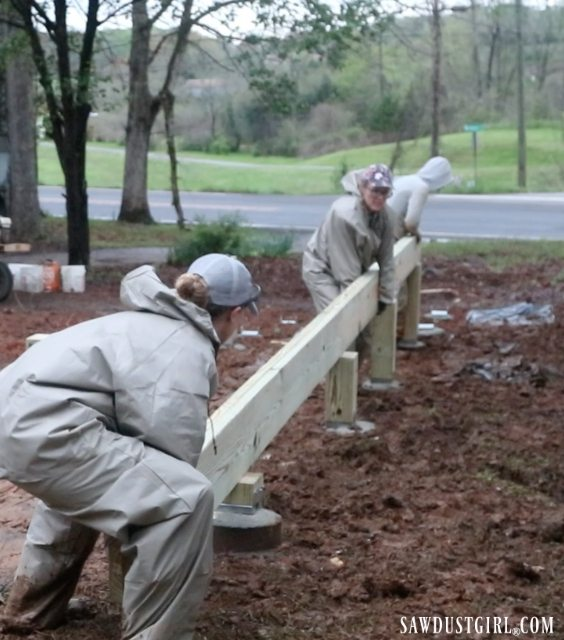 Setting beams for deck