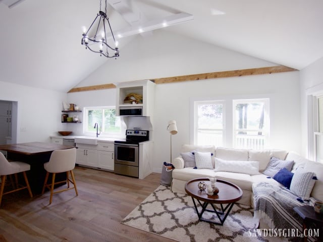 vaulted ceiling kitchen and living room