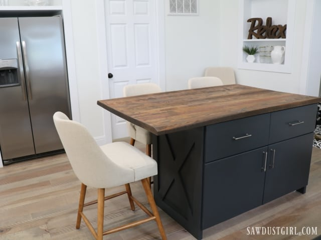 Kitchen island with seating on two sides