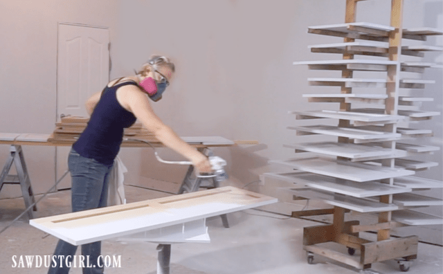 Painting cabinet doors with sprayer