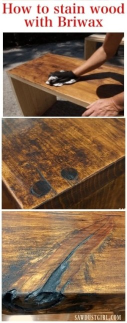 Beautiful results staining Pine and other wood using Briwax.