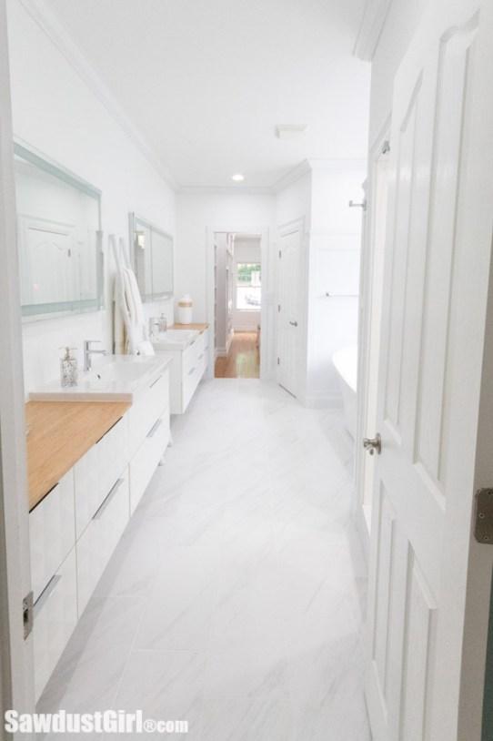 beautiful galley master bathroom