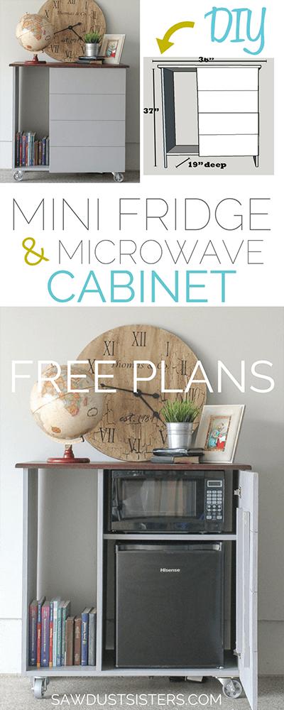 mini fridge microwave cabinet sawdust