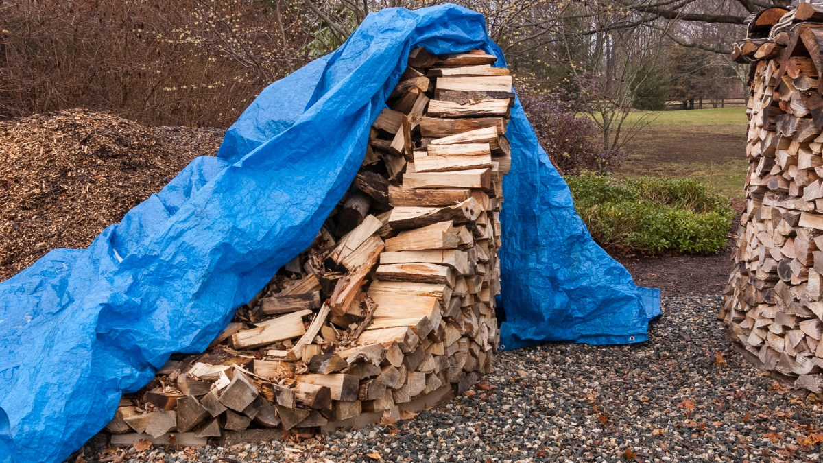 Holz Hausen Covered by Tarp
