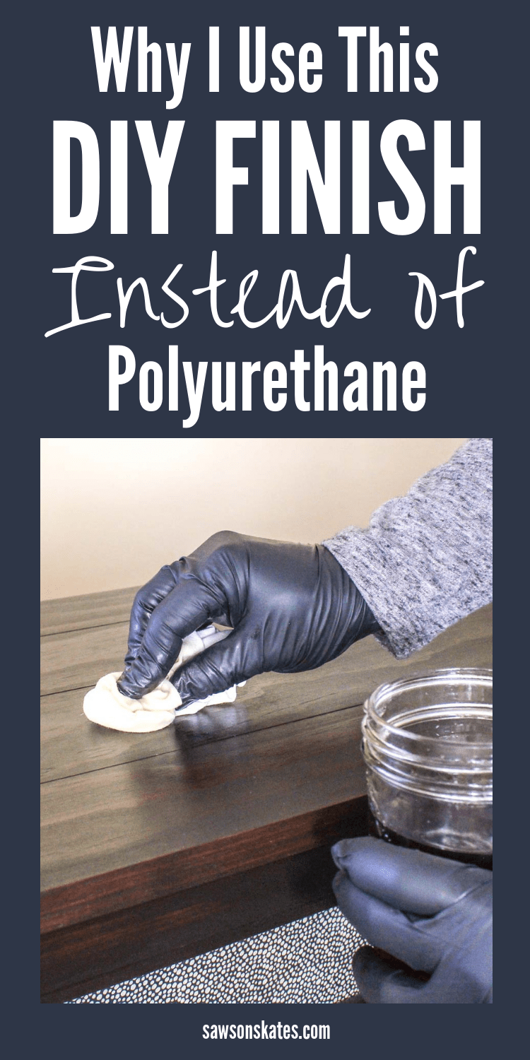 Polyurethane is too fussy! I searched for ideas for finishes I could use instead of poly and found this recipe (lots of great tips too). It's easy to make, easy to apply and nearly impossible to mess up! It can be used on raw wood or over stain. It's the perfect finish for art projects or DIY furniture. #woodfinish #polyurethane #polyurethanefinish #diy #diyfurniture #woodworking #woodworkingtips #diywoodprojects #sawsonskates