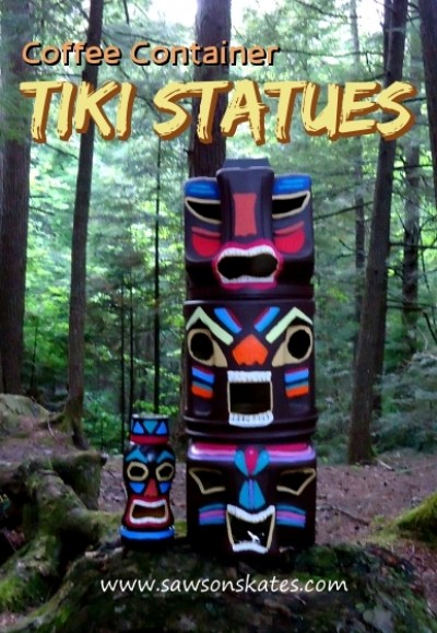 How to make a recycled coffee container tiki statue with solar light tutorial