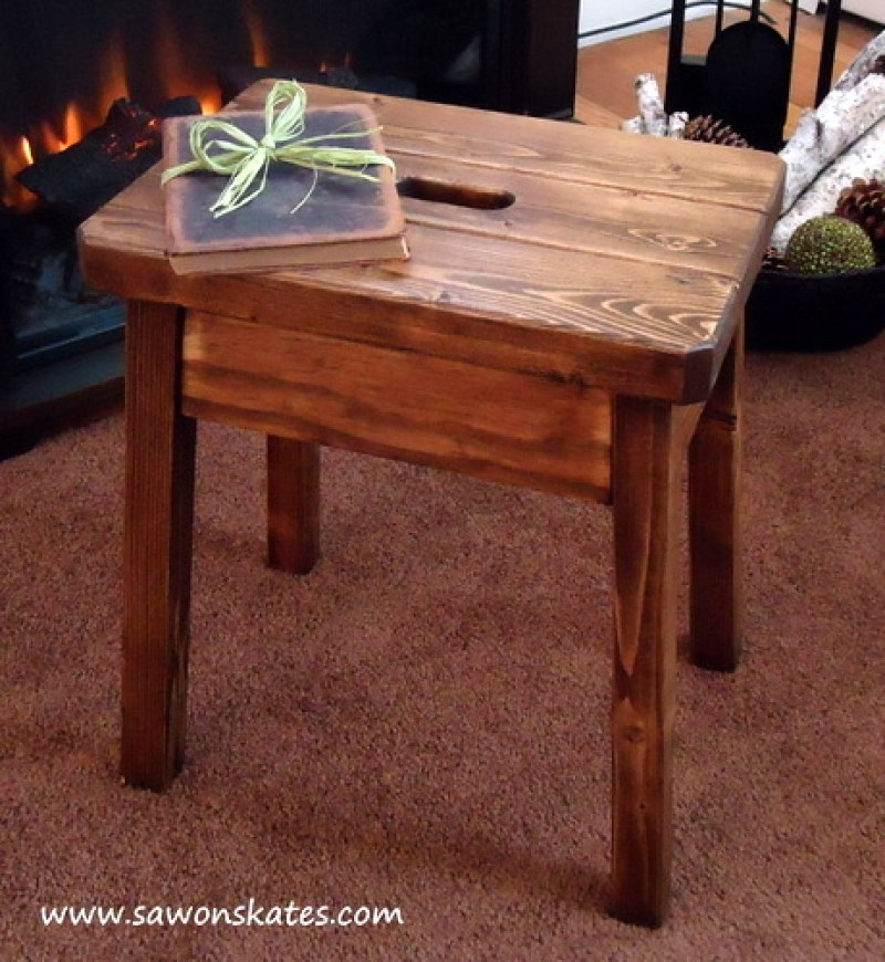 Knockoff Plow & Hearth Stool by Fireplace