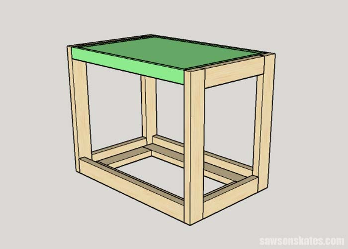 Sketch showing the table frame being attached to the DIY Flip-Top Cart