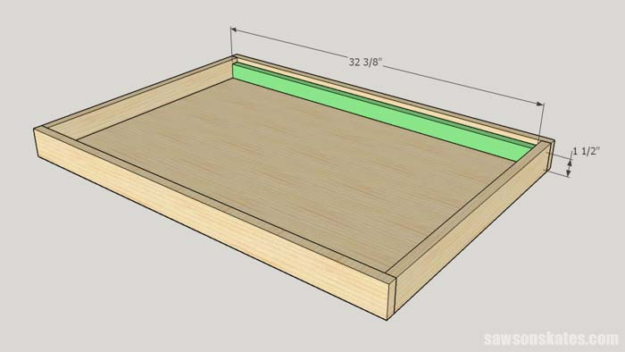Sketch showin the long sides of the interior mounting brackets of the DIY Flip-Top Cart