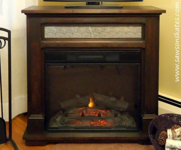 Electric Fireplace Mantle Fire Lit