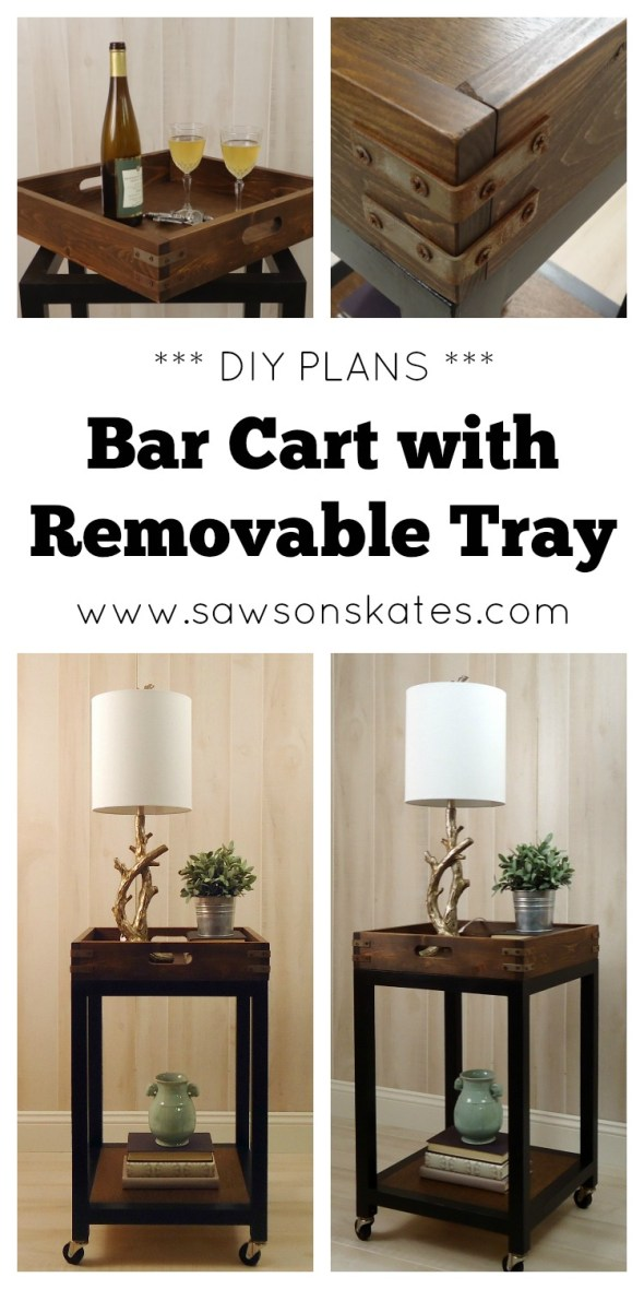 Love this DIY Bar Cart! It features a removable tray and vintage industrial design. Plus, it's super easy to build! Plans at sawsonskates.com