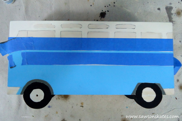 DIY Flower Power Painted Wood Bus Planter - sawsonskates.com