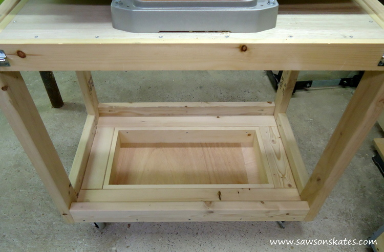 diy fliptop workbench cart storage tray above