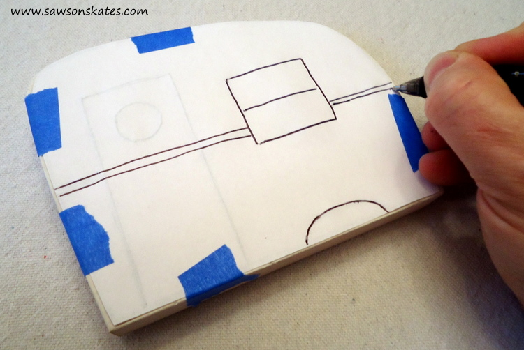 DIY Painted Wooden Vintage Camper Napkin Holder - Trace the template on the back