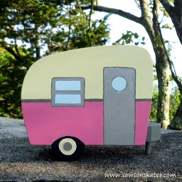 DIY Painted Wooden Vintage Camper Napkin Holder - Pink Camper
