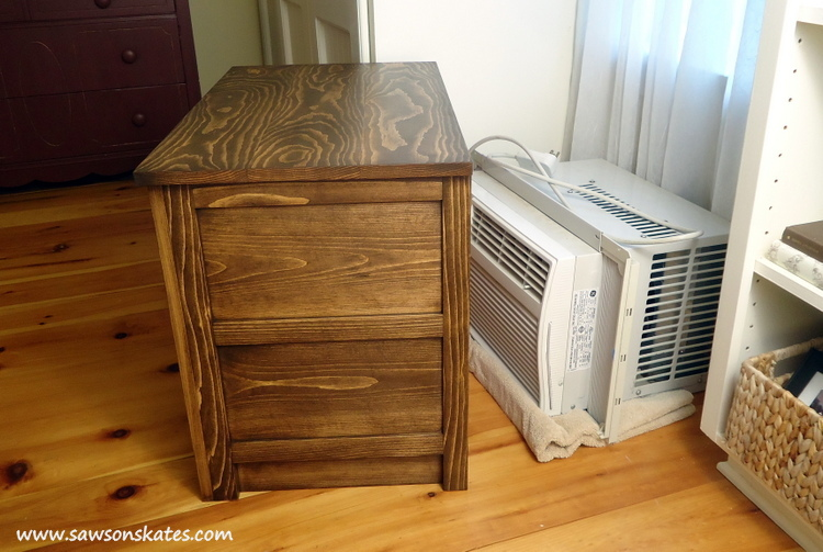 "The ""coolest"" dresser ever! This DIY dresser hides an air conditioner when not in use! Plans at www.sawsonskates.com"