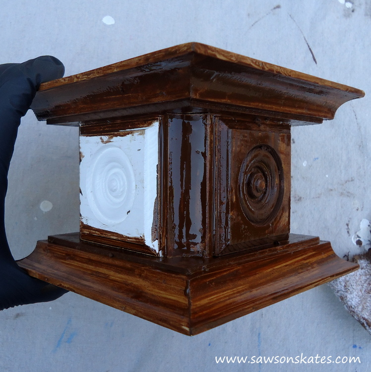 Easy wooden DIY candle holder - apply stain