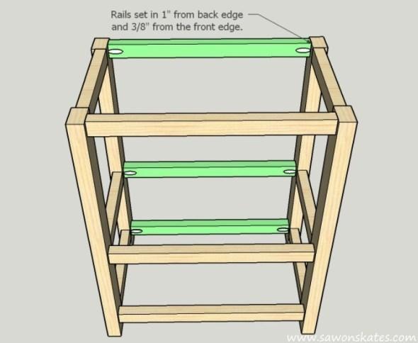 DIY Kitchen Island plans - easy to build, small space kitchen island on wheels - Back Assembly
