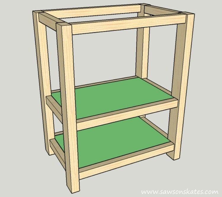 DIY Kitchen Island plans - easy to build, small space kitchen island on wheels - Shelf Installation